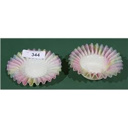 2 PCS ANTIQUE SATIN ART GLASS
