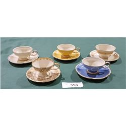 SET OF 5 VINTAGE ROSENTHALE DEMITASSE TEACUPS/SAUCERS