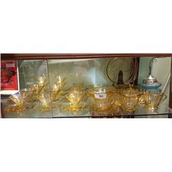 APPROX 40 PCS VINTAGE DEPRESSION AMBER GLASS DISHES