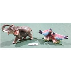 2 VINTAGE JAPANESE PORCELAIN ANIMAL FIGURINES
