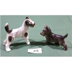 2 GERMAN PORCELAIN DOG FIGURINES
