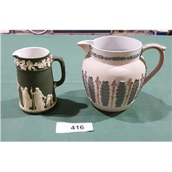 2 WEDGWOOD JASPERWARE PITCHERS