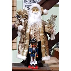 QUALITY SANTA FIGURE & WOOD NUTCRACKER