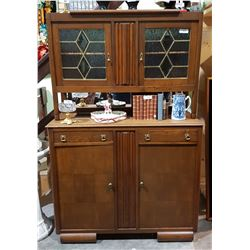 EARLY 1900'S OAK STEP BACK CABINET W/LEAD GLASS WINDOWS