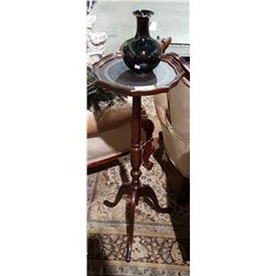 MAHOGANY PLANT STAND W/LEATHER TOP