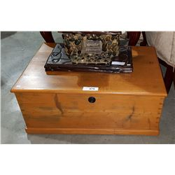 SMALL ANTIQUE PINE CHEST W/KEY