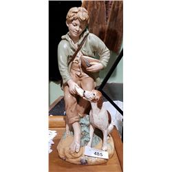 VINTAGE CERAMIC STATUE OF BOY AND DOG