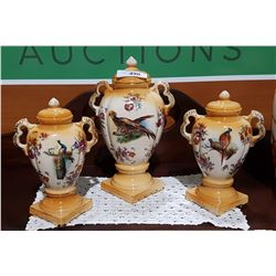 THREE PC VICTORIAN PORCELAIN MANTLE SET