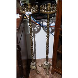 PAIR OF ANTIQUE GOTHIC STYLE BRASS CANDELABRAS