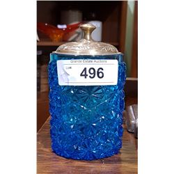 VICTORIAN BLUE GLASS PICKLE JAR