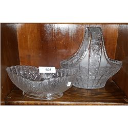 BRILLIAN CUT CRYSTAL BASKET AND CUT CRYSTAL BOWL