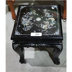 SMALL ASIAN BLACK LACQUER STOOL W/ABALONE INLAY