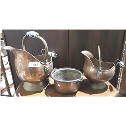 TWO ANTIQUE COPPER COAL BUCKETS W/DELFT HANDLES & COPPER POT