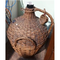 VINTAGE WINE BOTTLE IN RATTAN