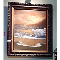 FRAMED OIL ON CANVAS SEASCAPE SIGNED