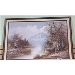 FRAMED OIL PAINTING MOUNTAIN SCENE