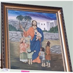 RAMED OIL ON CANVAS JESUS AND THE LITTLE CHILDREN
