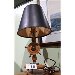 VINTAGE SMALL SHIP'S WHEEL TABLE LAMP