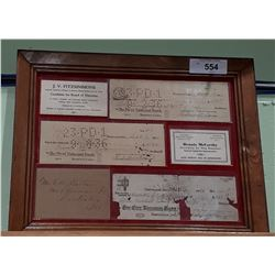 VINTAGE FRAMED CANCELLED CHEQUES 1930'S