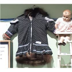VINTAGE INUIT CHILD'S FUR LINED JACKET