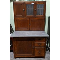 ANTIQUE OAK HOOSIER W/FROSTED GLASS WINDOWS C.1910