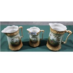 THREE VICTORIAN PORCELAIN GRADUATED PITCHER W/PHEASANT MOTIF