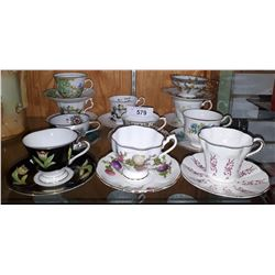 11 BONE CHINA TEACUPS/SAUCERS
