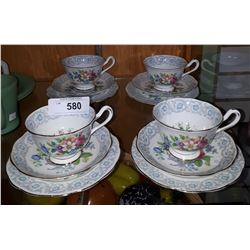 FOUR ROYAL ALBERT FRAGRANCE BONE CHINA TEACUP TRIOS