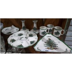 APPROX 8 PIECES SPODE CHRISTMAS TREE SERVING DISHES