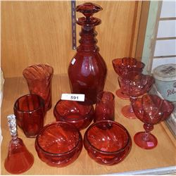 COLLECTION OF VINTAGE CRANBERRY GLASS