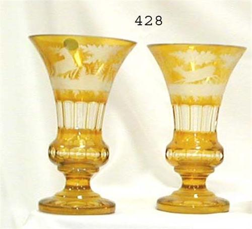 Exceptional Pair Of Amber Cut To Clear 9 Mantle Vases With Ornate