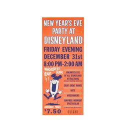 """""""New Year's Eve Party at Disneyland"""" Ticket."""