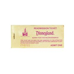 Complete Book of (100) Disneyland Readmission Tickets.