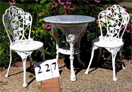 white iron outdoor set with marble top table and 2 chairs rh icollector com white cast iron outdoor furniture white cast iron outdoor furniture