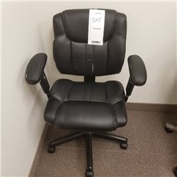 SMALL BLACK FAUX LEATHER ADJUSTABLE OFFICE CHAIR