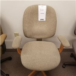 CLOTH OFFICE CHAIR/WOOD AND METAL/ADJUSTABLE