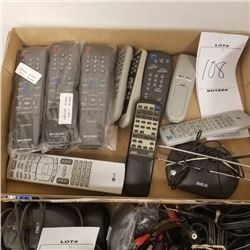 LOT OF 13 REMOTE CONTROLS/ 6 NEW/7 USED/INCLUDES RCA ANTENNA