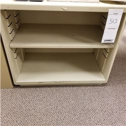 BEIGE METAL OPEN CABINET WITH ONE ADJUSTABLE SHELF