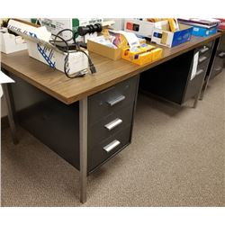 LARGE BLACK 6 DRAWER DESK WITH WOOD LAMINATE TOP