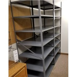 2 LARGE GRAY METAL 7 SHELF EACH STORAGE RACK/BOLTED TOGETHER