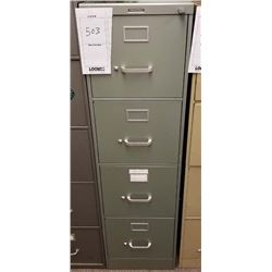 "GREEN VERTICAL 4 DRAWER FILE CABINET ""STEEL CASE""/LOCKABLE WITH KEY"