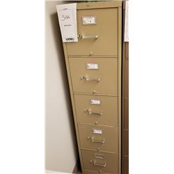 "BEIGE VERTICAL 5 DRAWER FILE CABINET ""HON"""