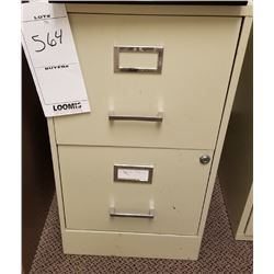 SMALL BEIGE VERTICAL 2 DRAWER FILING CABINET/LOCKABLE BUT NO KEY