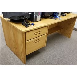 Wooden 2 Drawer Desk in Light Golden Oak