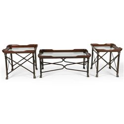 Leather-Wrapped Wrought Iron Tables