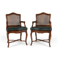Cane & Leather Carved Chairs
