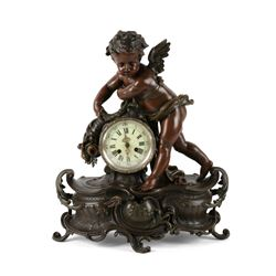 French Cupid Bronze Clock