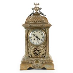 French Reticulated Brass Mantel Clock