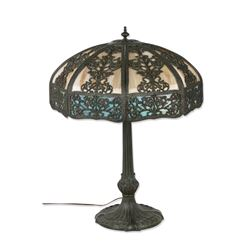 Curved Slag Panel Table Lamp