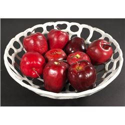 """""""Regina"""" (9) poison apples and metal apple bowl from Major's Office in Once Upon a Time Seasons 1-6."""